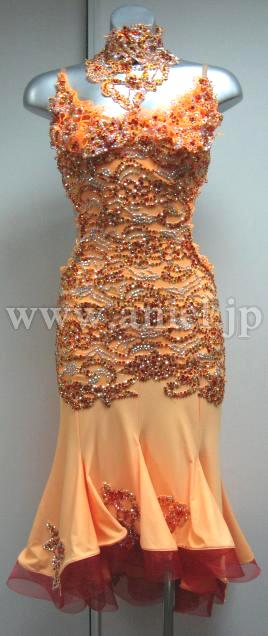 800aed343eb1b 社交ダンスドレス(衣装)のドレスネットアニエル   L1873・オレンジ
